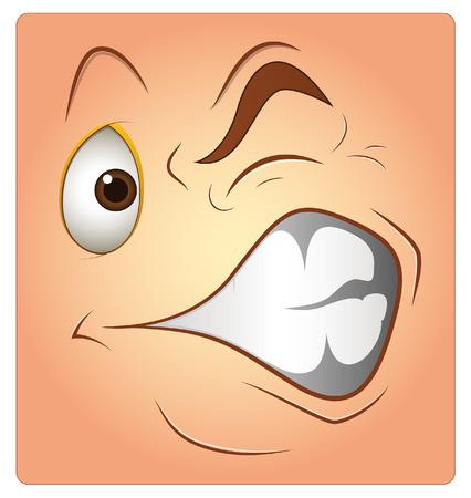 irritated: Irritated Face Box Smiley Vector