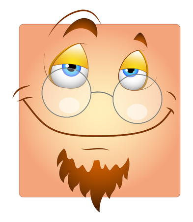 Happy Face with Specs and Beard Smiley Illustration