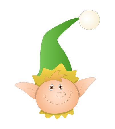 cartoon elfe: Gl�ckliche Cartoon Elf-Gesichts-vektor Illustration