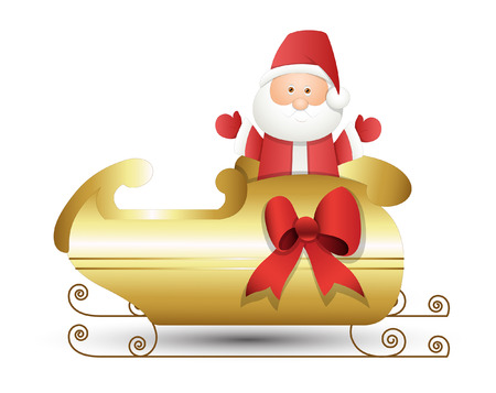 santa sleigh: Christmas Santa Claus with Golden Sleigh Illustration