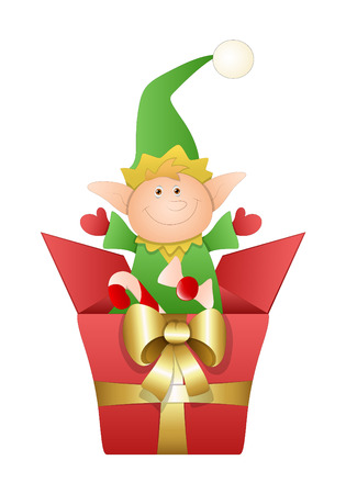 Cute Elf with Golden Ribbon Christmas Gift Vector