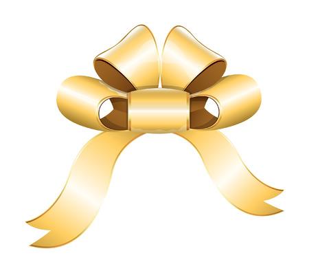 ribbon bow: Vector Golden Ribbon Bow