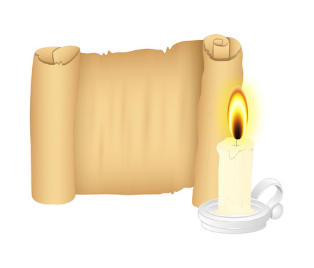 scroll: Parchment Scroll with Candle Vector