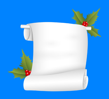 holy leaves: Christmas Paper Banner with Holy Leaves Vector