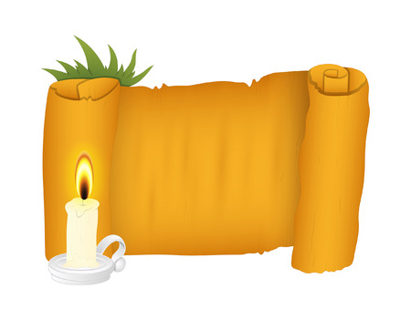 burning paper: Retro Paper Banner with Candle Vector Illustration