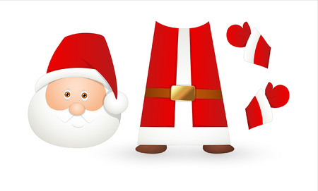 Santa Face and Costume Elements Vector Illustration