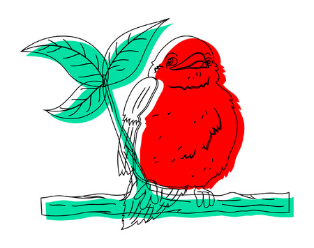finch: Bird on Branch Drawing Vector Illustration