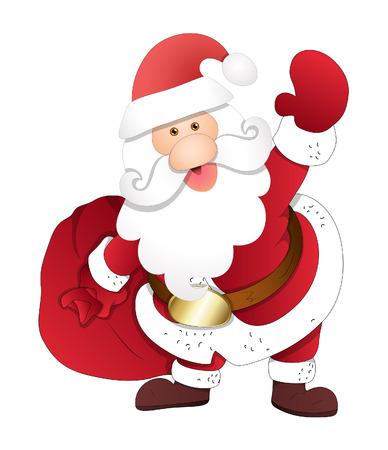 bolsa de regalo: Santa feliz con bolsa de regalo