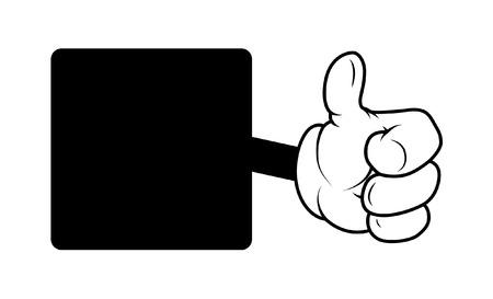 Motivate Cartoon Hand Thumbs Up Banner