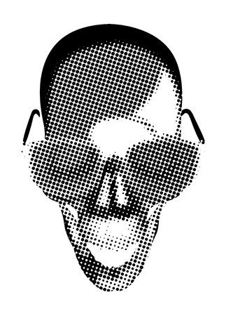 eyeglasses: Spooky Halloween Halftone Skull with Eyeglasses