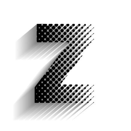 Haltone Z Text with Shadow