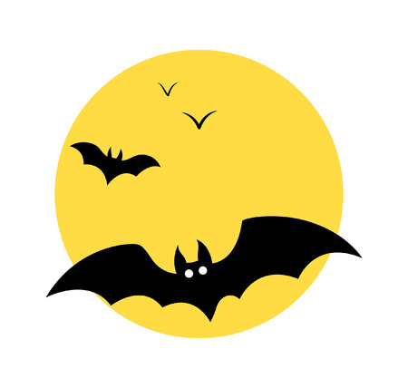 Halloween Bats Flying in Moon Light