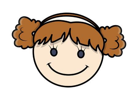 girl happy: Funny Cartoon Kid Girl Happy Face Illustration