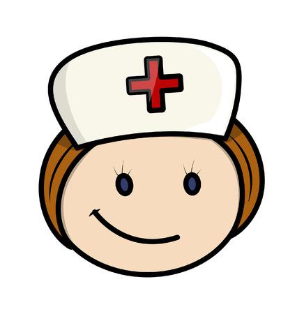 Happy Cartoon Nurse Character Face Vector