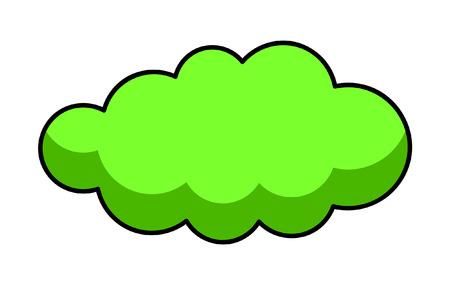 Green Retro Cloud Banner Vector