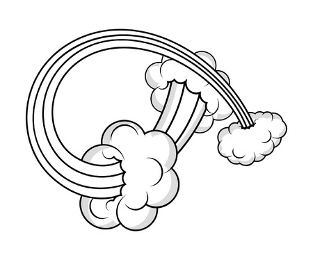 Retro Bursting Cloud Elements Vector