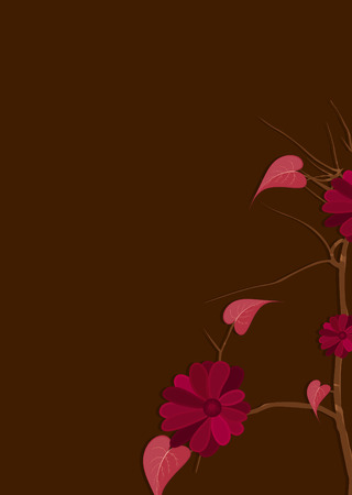 new year s day: Red Flowers Branch Vector Design