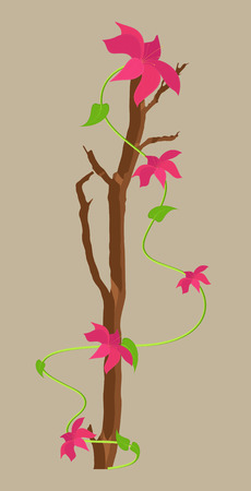 new year s day: Vector Flowers Branch Design Illustration
