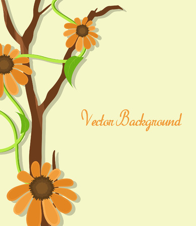new year s day: Orange Flowers Template Design Illustration