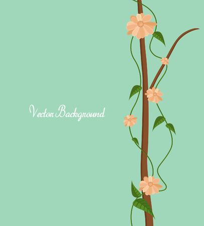 Decorative Flowers Branch Elements Vector