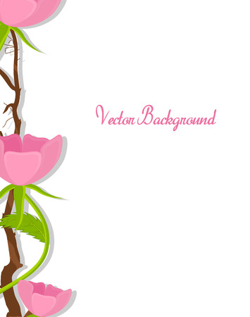 new year s day: Flowers Branches Vector Background Illustration