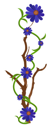 new year s day: Purple Flowers Branch Vector Design