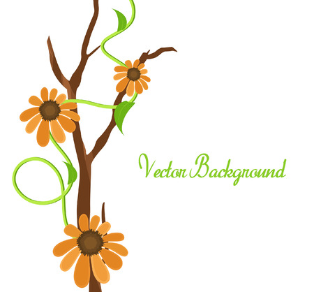 new year s day: Orange Vector Flowers Banner Design