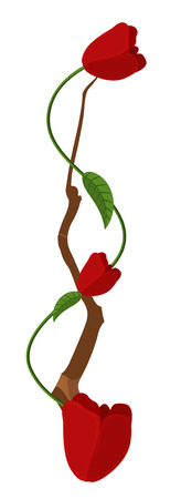 new year s day: Red Roses Branch Illustration