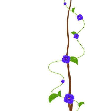 Purple Flowers Decorative Greeting Template Illustration