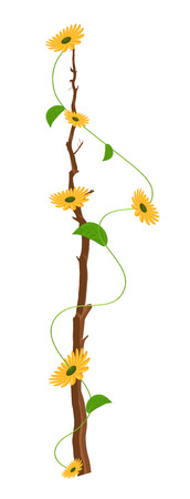 new year s day: Yellow Flowers Branch Vector