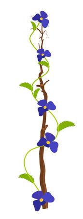 purple flowers: Purple Flowers Branch Design Illustration