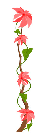 new year s day: Pink Flowers Branch Vector Design