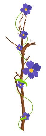 autumn flowers: Autumn Flowers Branch Illustration