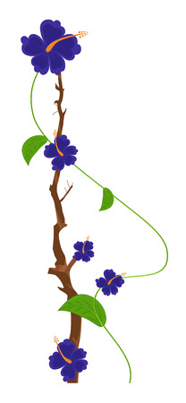 new year s day: Blue Flowers Vector Branch Design