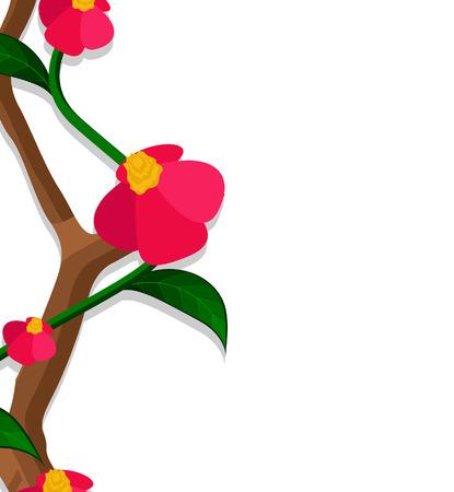 season s greeting: Red Flowers Greeting Banner Illustration