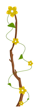 new year s day: Decorative Yellow Flowers Branch Vector Illustration