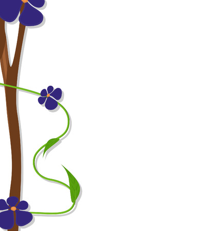 new year s day: Purple Flowers Vector Greeting Banner