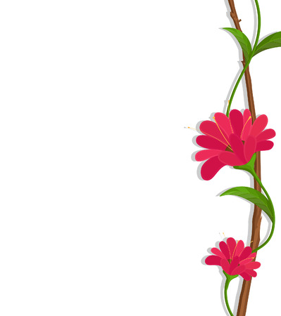 Red Flowers Border Vector