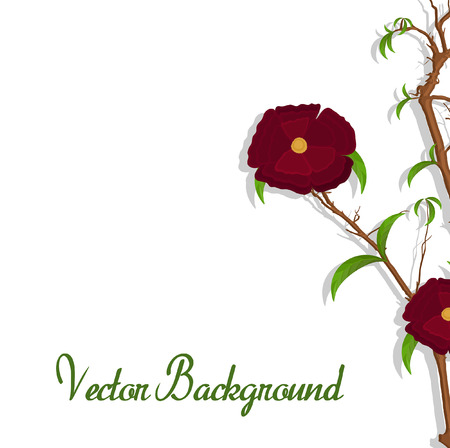 new year s day: Red Flower Vector Branch