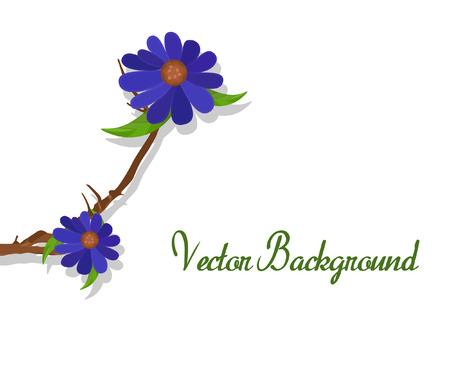 purple flowers: Purple Flowers Branch Vector Banner