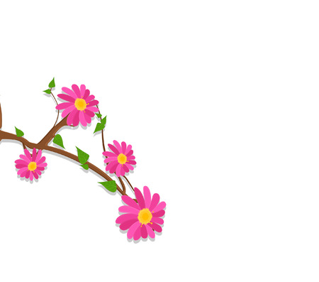 Pink Daisies Branch Vector Background