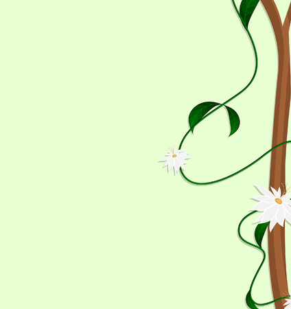 new year s day: Abstract White Flowers Branch Frame
