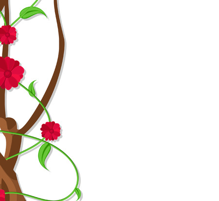 new year s day: Flowers Branch Border Design Vector