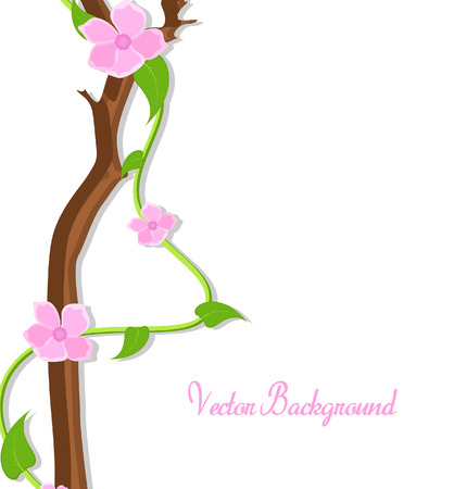 new year s day: Pink Decor Flowers Branch Vector Banner
