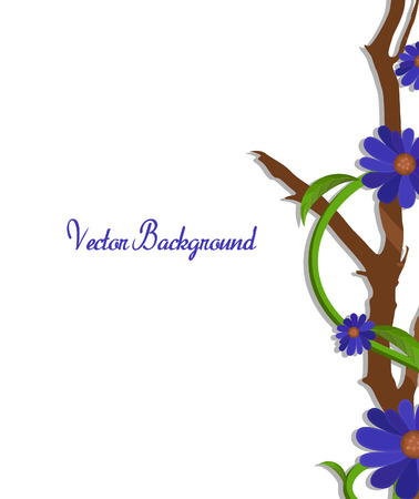 new year s day: Purple Flowers Vector Branch Border Vector