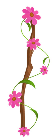 new year s day: Abstract Comic Flowers Branch Vector