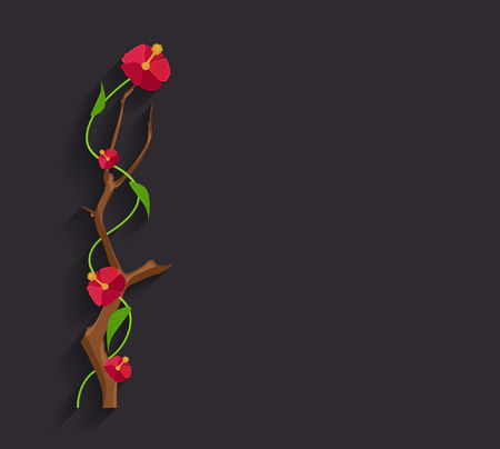 new year s day: Red Flowers Branch Vector Banner