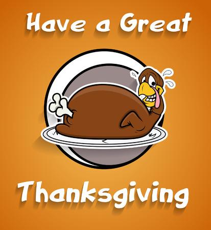 funny turkey: Funny Turkey Thanksgiving Day Greeting Illustration