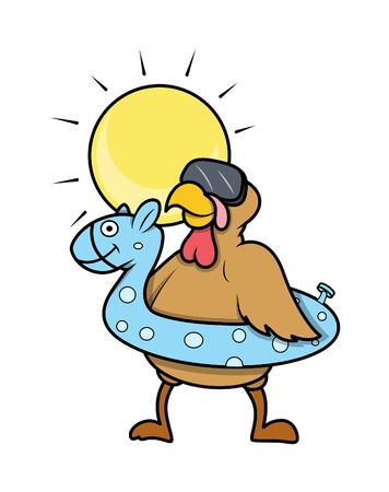 funny turkey: Funny Turkey Bird Going to Swim