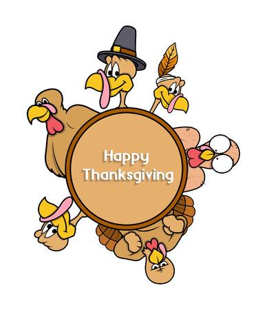 Happy Thanksgiving Day Turkey Banner Vector Illustration